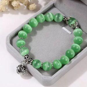Jewelry - Natural Opal Beads Bracelet with stainless Charm